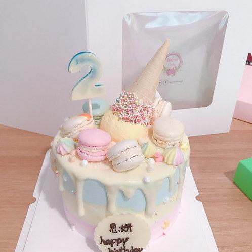 三色雪糕筒流槳蛋糕