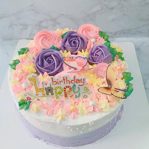 雙色珍珠立體花蝴蝶蛋糕