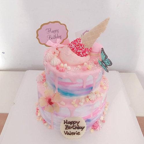 漸變粉紅色 藍色雙層蛋糕
