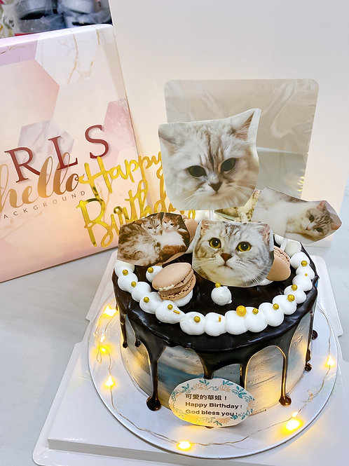貓咪着燈蛋糕 (可食用糖皮印刷)