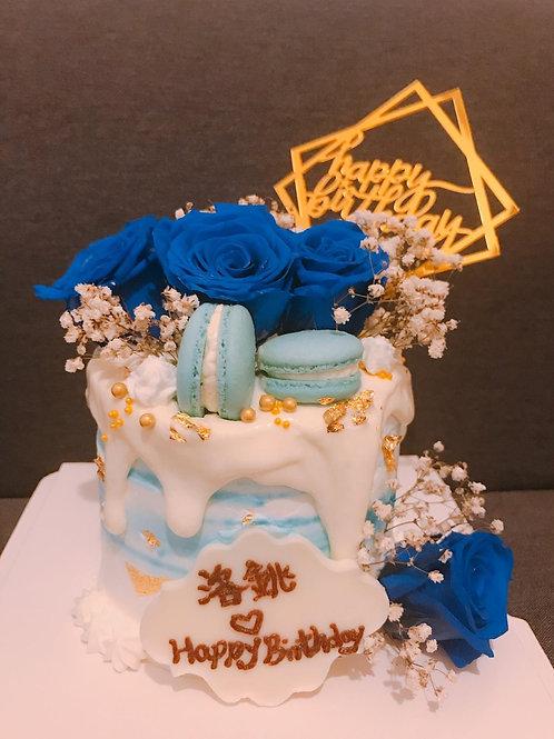 藍色花滿天星蛋糕
