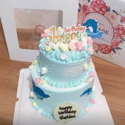 海豚雙層蛋糕(可自訂主題)