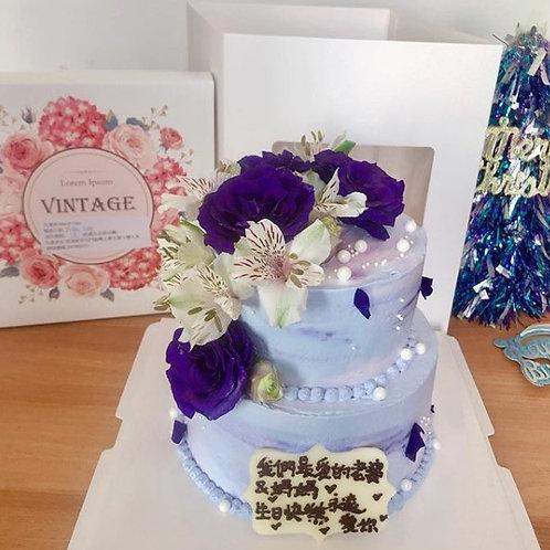 紫色雙層鮮花蛋糕款