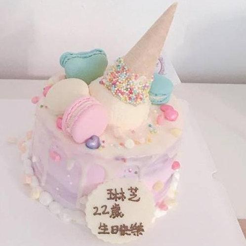 紫色漸變心心雪糕筒蛋糕