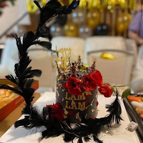 黑金羽毛皇冠蛋糕款(有燈)
