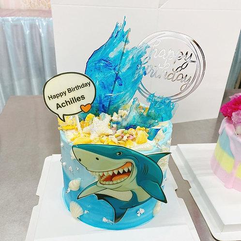 鯊魚主題蛋糕 (可食用印刷)