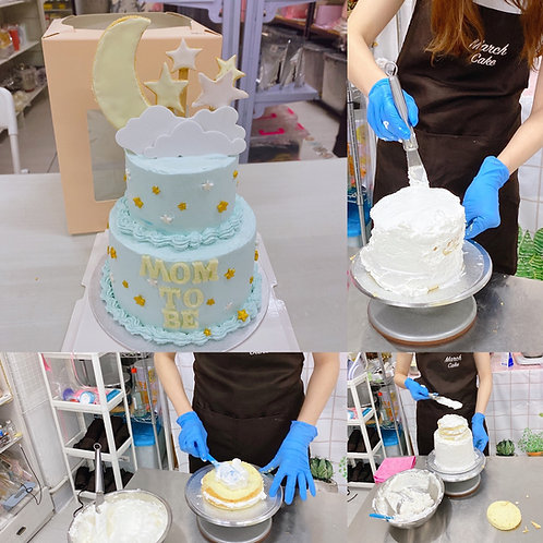 糖霜曲奇加星星月亮小雙層蛋糕