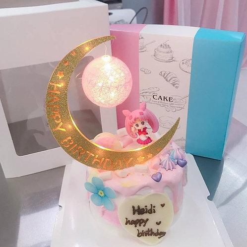 美少女戰士配月亮燈蛋糕