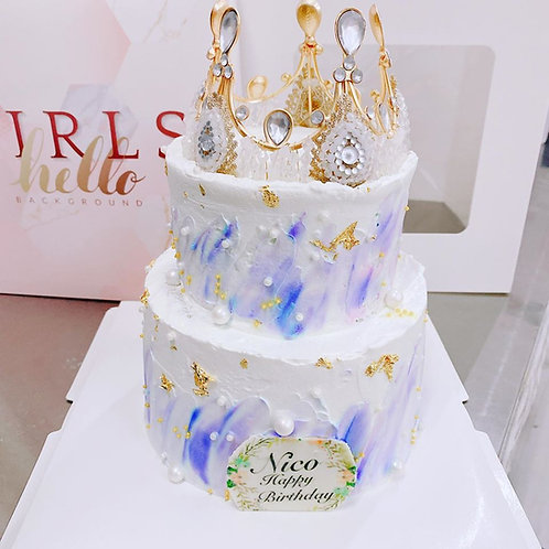 皇冠珍珠漸變紫蛋糕