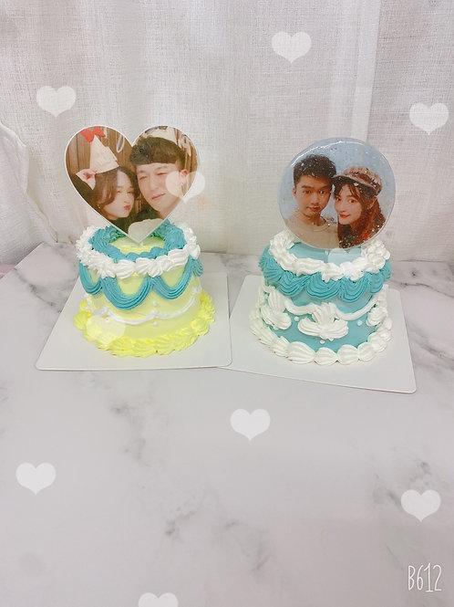 情人節蛋糕 復古照片蛋糕