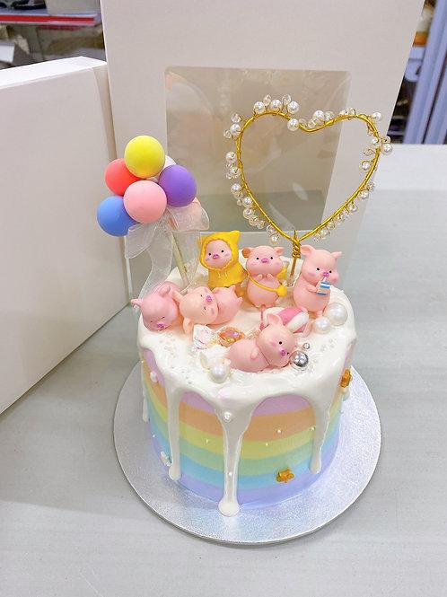 彩虹色豬仔蛋糕