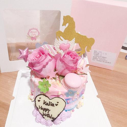 玫瑰花木馬夢幻蛋糕