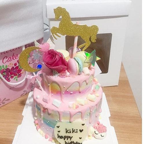 木馬玫瑰花雙層蛋糕