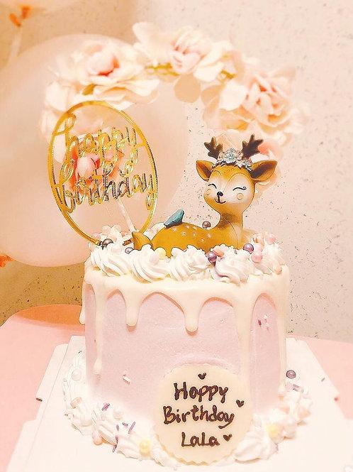 花環小鹿蛋糕
