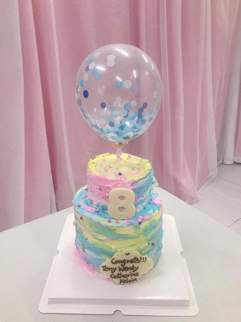 雙層氣球拼色蛋糕