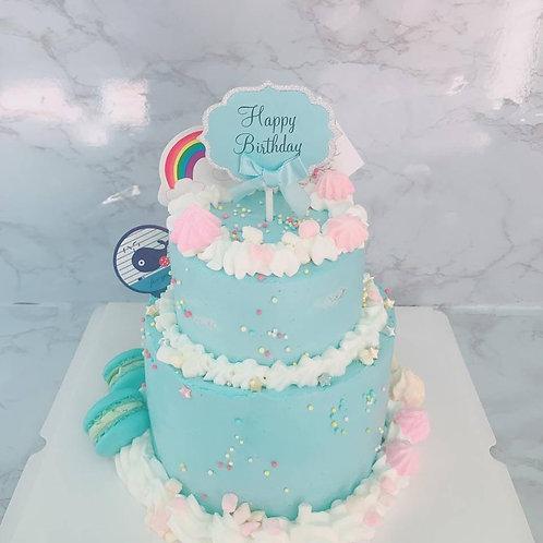 雙層蛋糕 粉藍