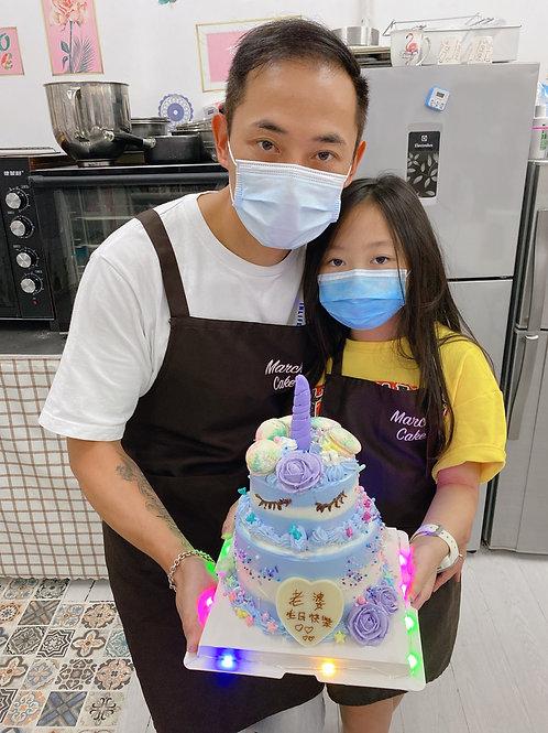 雙層獨角獸紫色漸變蛋糕