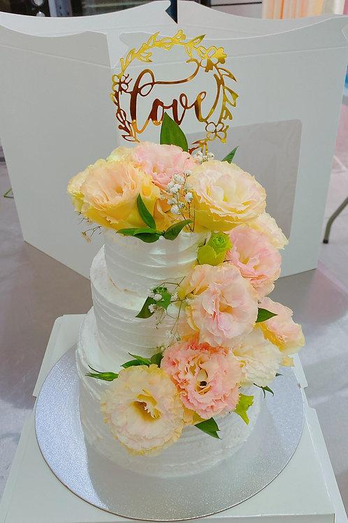 三層結婚蛋糕 鮮花款