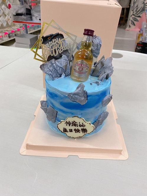 酒版朱古力裝飾蛋糕