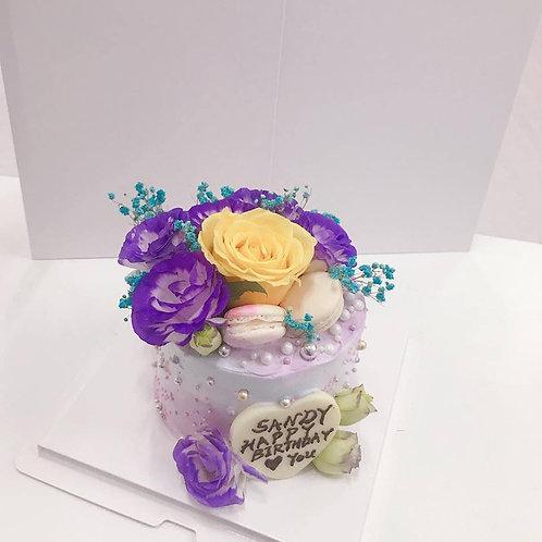 桔梗黃玫瑰鮮花蛋糕