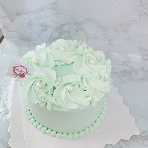 平面玫瑰花忌廉蛋糕