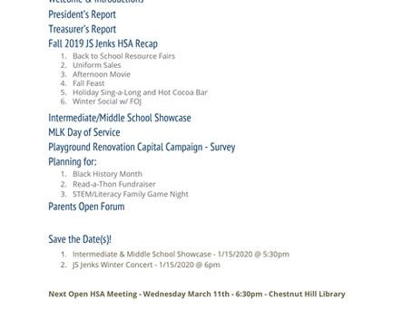 Open HSA Meeting - Agenda