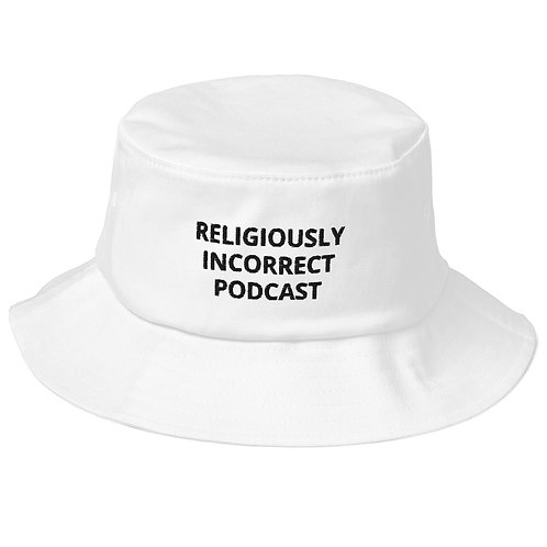 Religiously Incorrect Podcast Old School Bucket Hat White