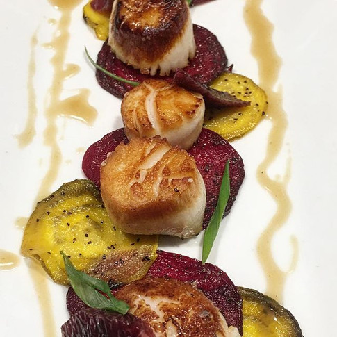 Seared Scallops, roasted beets, jalapeño