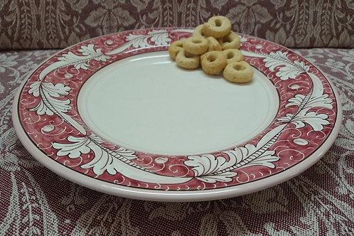 Rampini 28cm Dinner Plate Renaissance Leaf - Red