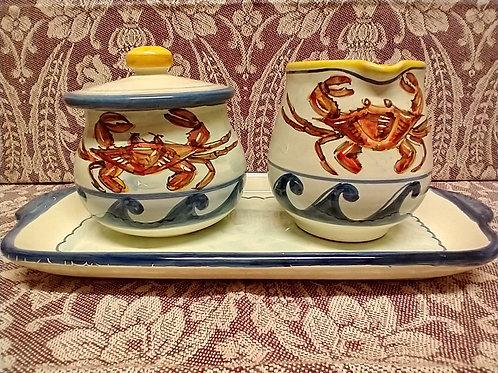 Crab Sugar, Creamer & Tray Set