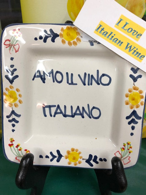 """I Love Italian Wine"" Wall Plate"