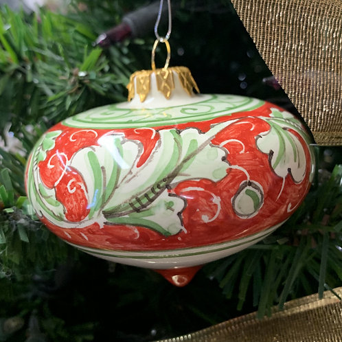 Red & Green Renaissance Leaf Ornament