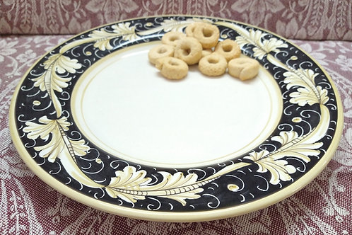 Rampini 28cm Dinner Plate Renaissance Leaf - Black/Gold
