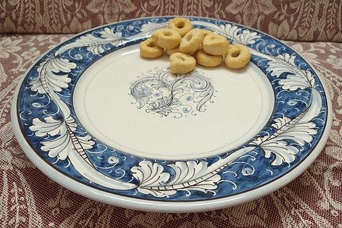 Rampini 28cm Dinner Plate Renaissance Leaf -Blue