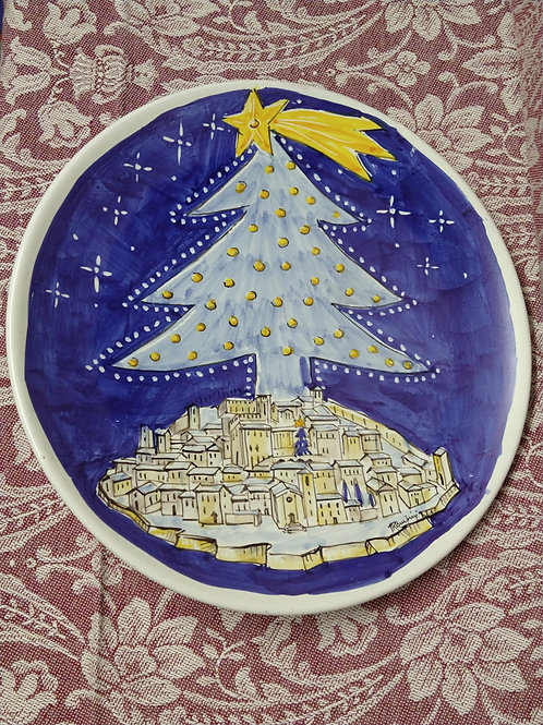 Gubbio Christmas Tree Wall Plate 25 cm