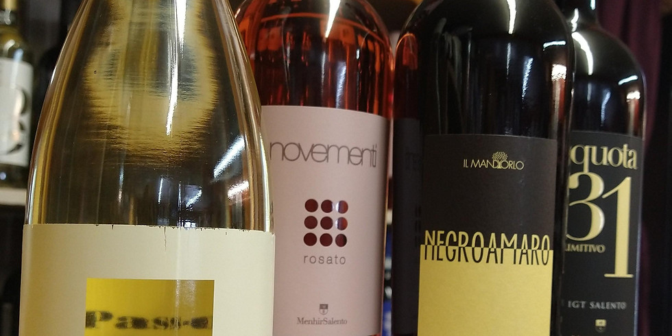Wine Tasting with Puglia Wines in the Courtyard Saturday Afternoon Aug. 14th