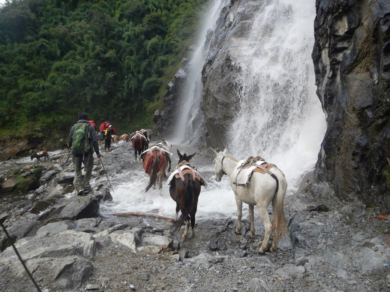 Водопад в начале трека