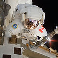 Canadian astronaut Dr. Dave Williams during second spacewalk, EVA2, of mission STS-118 replacing gyroscope on the International Space Station.