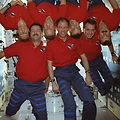 Dr. Dave Williams and the crew of STS-90 during the Neurolab mission conducting neuroscience experiments in space.