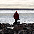 Silhouette of Dr. Dave Williams visiting the Canadian Arctic with One Ocean Expeditions.