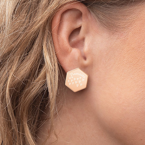 Engraved Namaste Sterling Silver Hexagon Stud Earrings - 2 Styles Available
