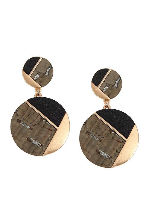 E6887 - Cork Wood Metal Geometric Circle Post Earrings