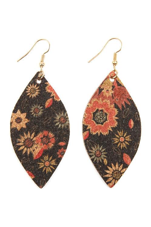 Flower Print Cork Marquise Earrings- Style 1