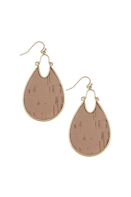 Teardrop Shape Cork Hook Earrings