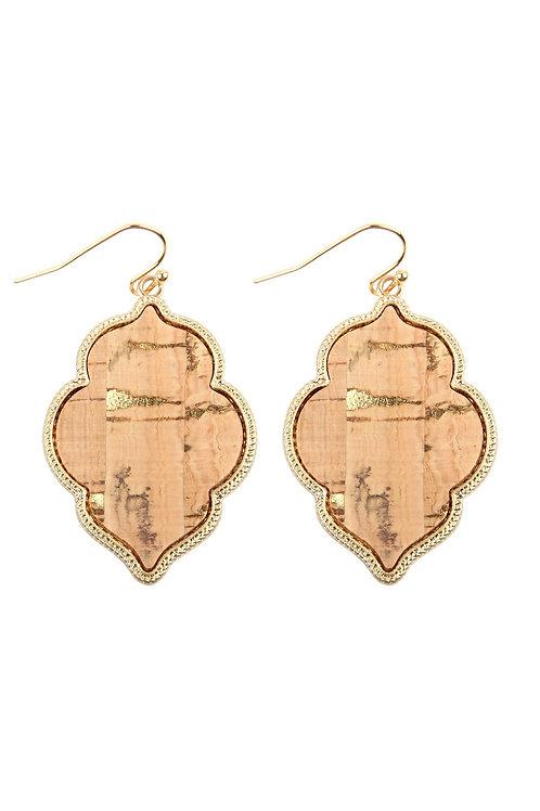 Quatrefoil Cork Hook Earrings