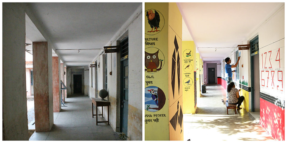 Before & after glimpses of a school corridor designed using BaLA