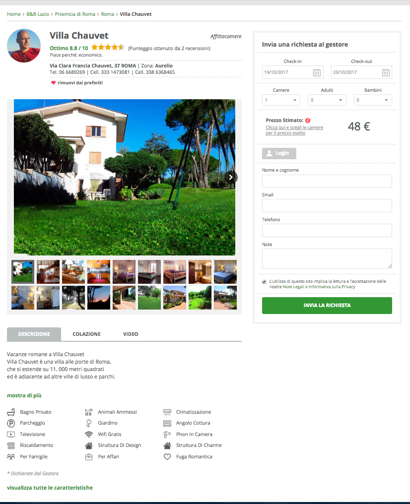Bed-and-Breakfast.it, Villa Chavet Roma