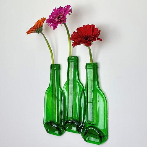THREE GREEN BOTTLES - WALL HANGING FLOWER VASE DISPLAY