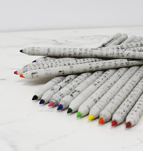 Recycled Newspaper Coloured Pencils