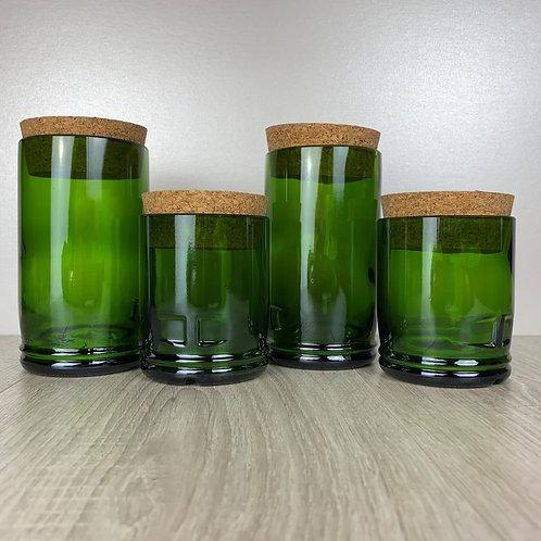 4 WINEBOTTLE GLASS STORAGE JARS